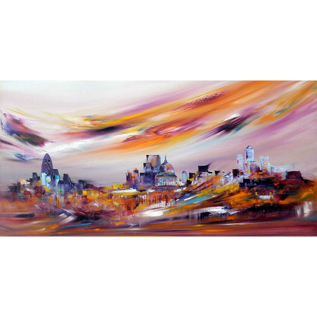 Rainbows Everywhere by Sara Sherwood, abstract and cityscape artist, depicts St Paul's Cathedral and the city of London in warm hues.