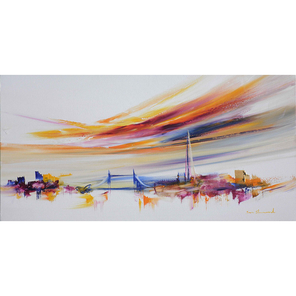 Love guides us by cityscape and abstract artist Sara Sherwood, a city view beneath colourful skies originally painted in oil on canvas.