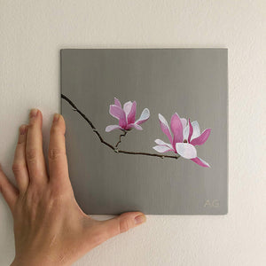 Magnolia blossoms by Amanda Gosse. Original flower painting acrylic on canvas panel wall size.