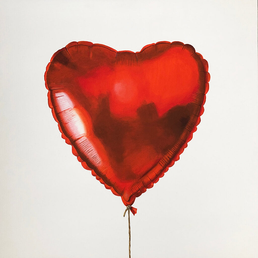 Red heart-shaped helium balloon painted by Amanda Gosse in acrylic on deep edge canvas