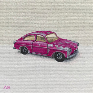 Toy car original miniature painting by Amanda Gosse in acrylic on canvas panel