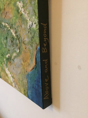 Above and Beyond painting by Gill Hickman showing the deep-edge canvas and the title written on the side