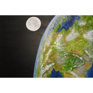 Above and Beyond a mixed-media textured painting on canvas by Gill Hickman of Planet Earth seen from space.