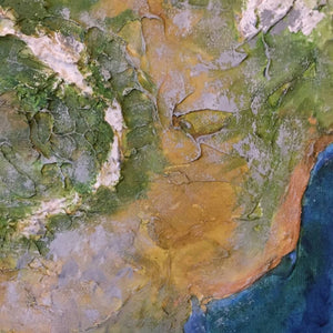 Above and Beyond a mixed-media textured painting on canvas by Gill Hickman showing a close up of the surface