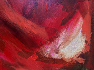 Abstract Peony 2 original acrylic and gold leaf red floral painting on canvas by Claire Thorogood flower and nature artist Detail