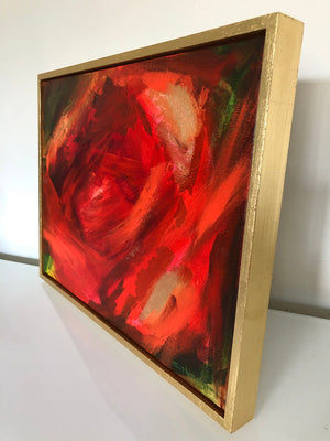 Abstract Peony 2 original acrylic and gold leaf red floral painting on canvas by Claire Thorogood flower and nature artist Side