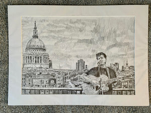 Alex Gibson Southbank London busker Mixed media on paper artwork by Stella Tooth Artist