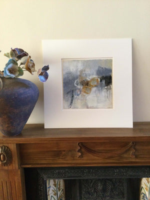 Amber, Grey, White II acrylic and collage artwork by South East London visual artist Carol Edgar offered in an off white mount