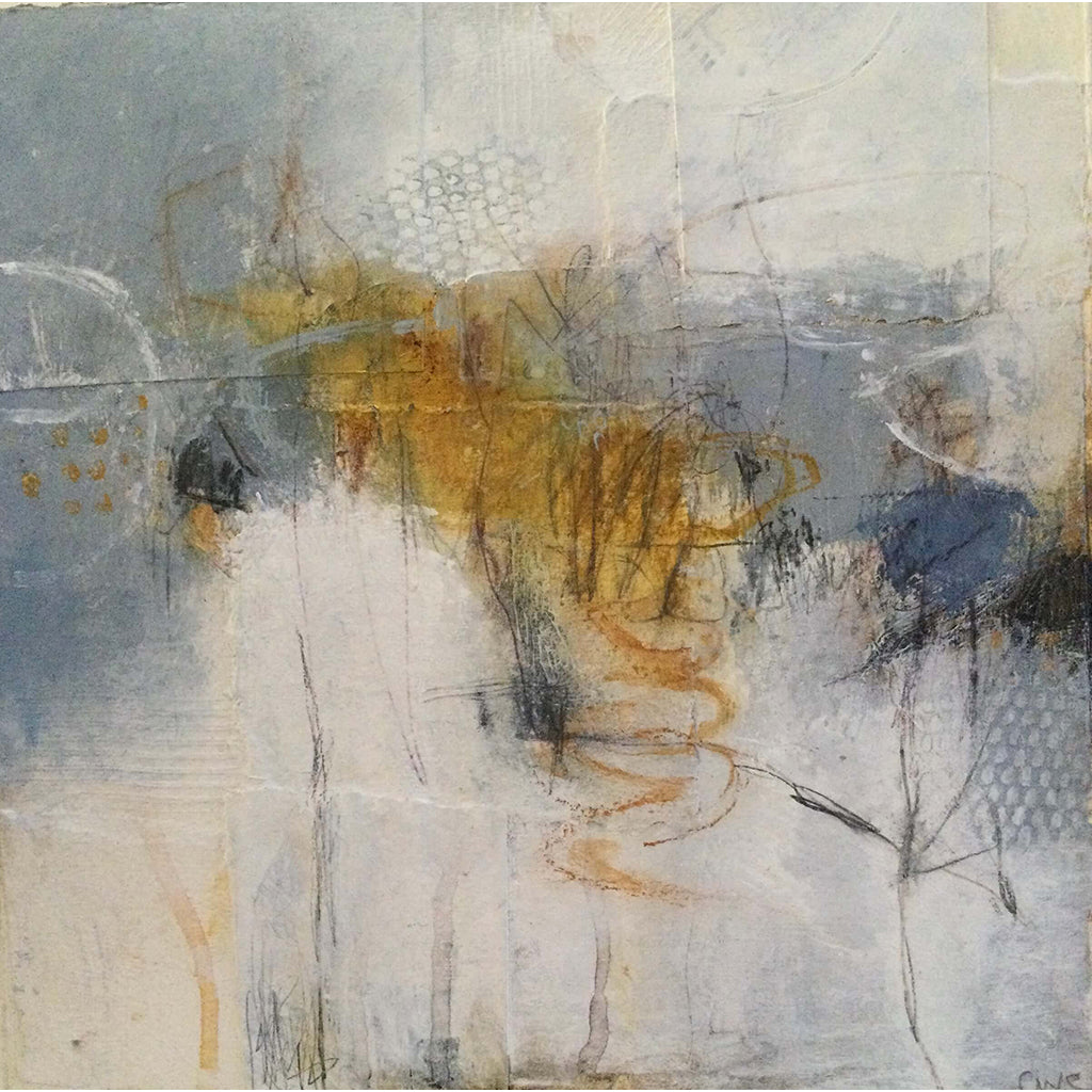 Amber, Grey, White acrylic and collage artwork by London visual artist Carol Edgar displayed in an off white mount
