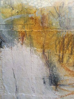 Amber, Grey, White acrylic and collage artwork by London visual artist Carol Edgar detail