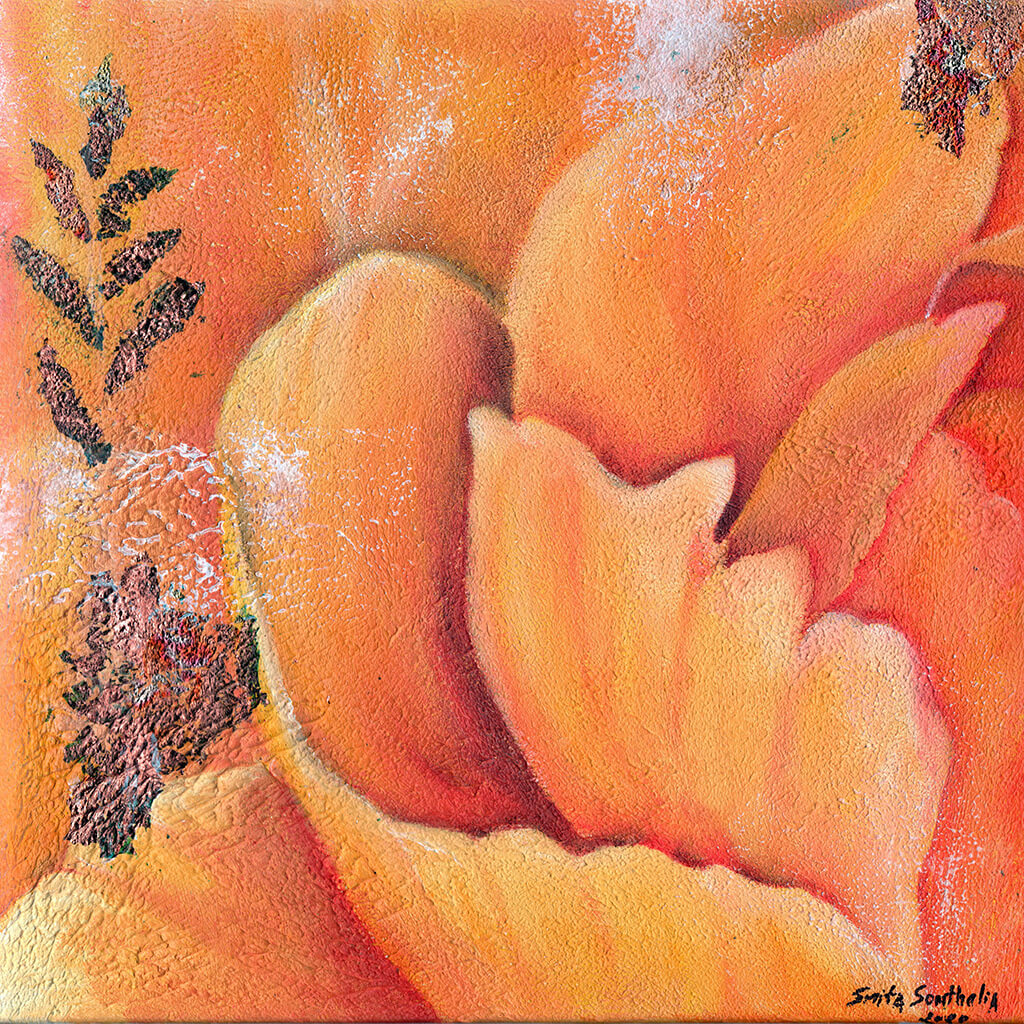 Amor Verdadero by London artist Smita Sonthalia original framed acrylic on canvas painting featuring flower petals in shades of orange.