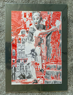 Arrogance vs conviction the tightrope original mixed media mounted artwork by Stella Tooth artist