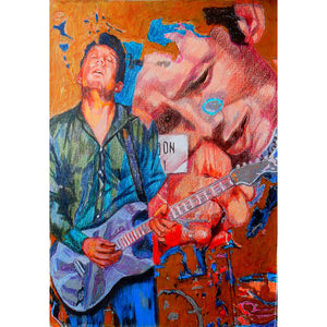 Aynsley Lister at the Half Moon Putney original mixed media artwork by Stella Tooth