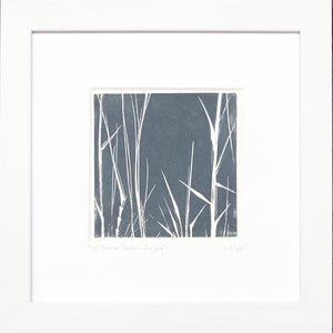 Bamboo Stalks hand printed linocut finished with pencil details by London artist Sarah Knight in dark grey or green Wall