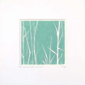 Bamboo Stalks hand printed linocut finished with pencil details by London artist Sarah Knight in dark grey or green