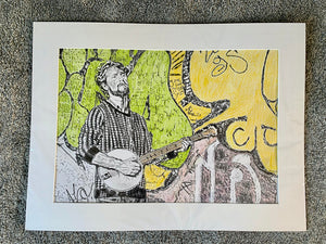 Banjo Player Jimmy Grayburn Pencil on Paper Artwork by Stella Tooth Artist