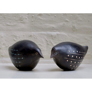 Blackbird 3 and 4 hand built one of a kind black stoneware bird with incised light blue and white slip design by Caroline Nuttall-Smith Pair