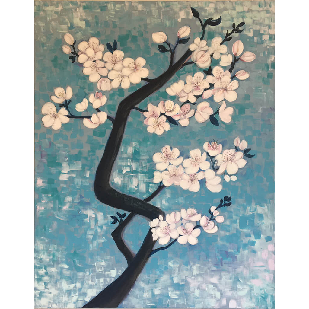 Blossom by Helen Trevisiol Duff Acrylic on canvas painting of pink flowers against blue sky