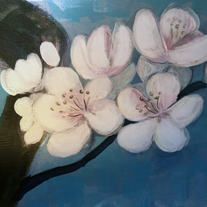 Blossom by Helen Trevisiol Duff Acrylic on canvas artwork of pink flowers and blue sky