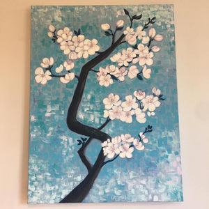 Blossom by Helen Trevisiol Duff Acrylic on canvas painting of pink flowers against blue sky full view