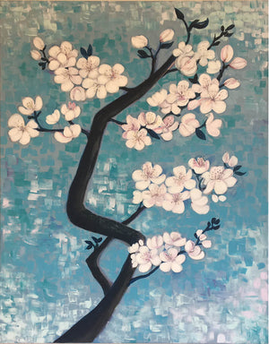 Blossom by Helen Trevisiol Duff Acrylic on canvas painting of pink flowers and blue sky display