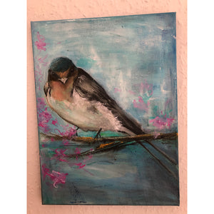 Blossoms original acrylic painting by London artist Sarita Keeler depicting a swallow bird in a blossom tree