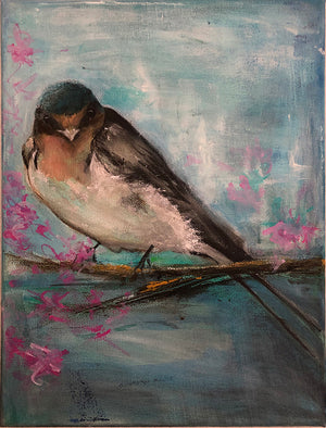 Blossoms original acrylic painting by London artist Sarita Keeler depicting a swallow bird in a blossom tree Wall