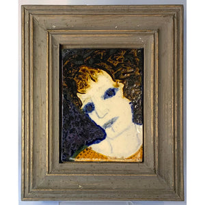 Blue Eyed Woman by mixed media figurative artist Heather Tobias oxide and glaze painted tile set in a wooden frame