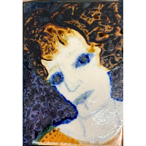 Blue Eyed Woman by mixed media figurative artist Heather Tobias oxide and glaze painted tile
