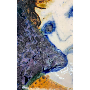 Blue Eyed Woman by mixed media figurative artist Heather Tobias oxide and glaze painted tile close up