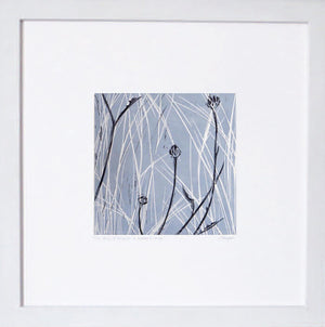 Hand printed linocut by artist Sarah Knight in yellow and grey or brown and blue. Limited edition made with hand mixed inks. Wall.