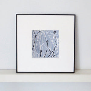 Hand printed linocut by artist Sarah Knight in yellow and grey or brown and blue. Limited edition made with hand mixed inks.