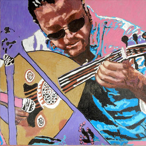 Zana Asia busker musician performing on the streets of Knightsbridge in London acrylic on canvas artwork by Stella Tooth detail