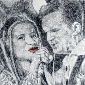 CASH and Carter at the Half Moon Putney Original Drawing by Stella Tooth Detail