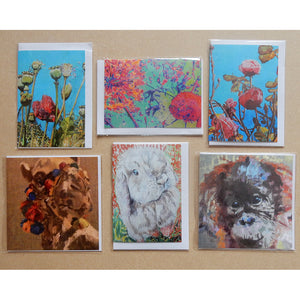 A Variety Pack of Animals and Flowers Blank Art Cards by Stella Tooth