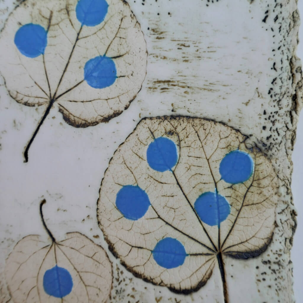 Catalina Blue leaf Imprint by Ruty Benjamini Detail