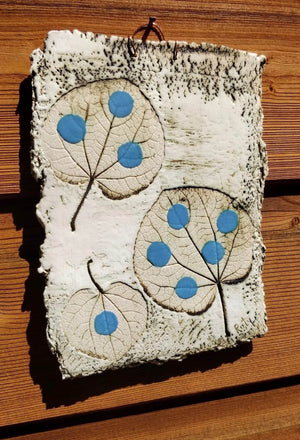 Catalina Blue leaf Imprint by Ruty Benjamini