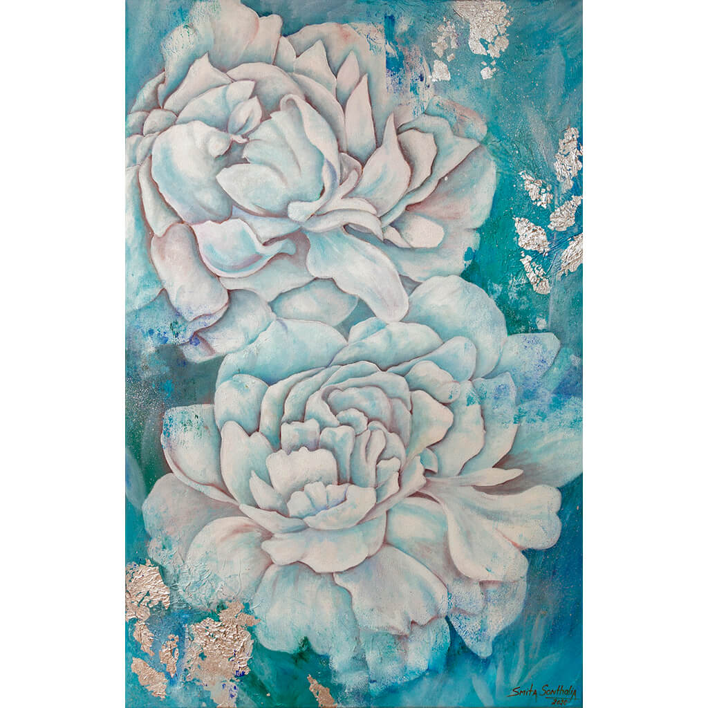 Cielo Azul by Smita Sonthalia mixed media floral acrylic on canvas painting with silver leaf embellishments. Large flowers in blue.