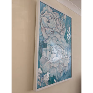 Cielo Azul by Smita Sonthalia mixed media floral acrylic on canvas painting with silver leaf embellishments. Large flowers in blue and white