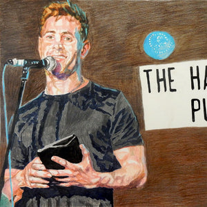 Simon Brodkin comedian performing at the Half Moon Putney original mixed media drawing on paper artwork by Stella Tooth Detail