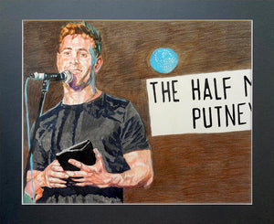 Simon Brodkin comedian performing at the Half Moon Putney original mixed media drawing on paper artwork by Stella Tooth Display