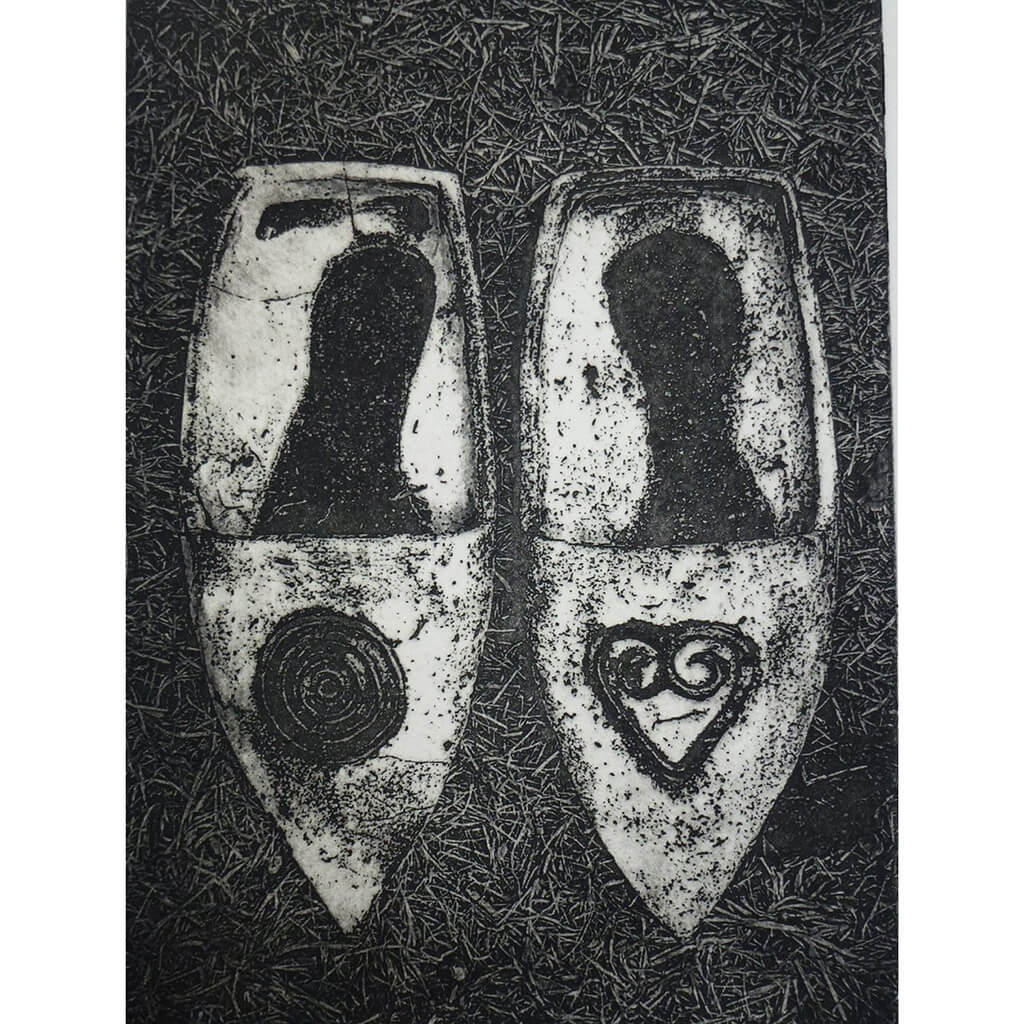 Corrine Edwards Adinkra Slippers Photo Etching