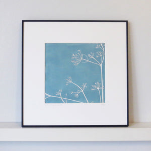 Cow Parsley hand printed linocut finished with pencil details by London artist Sarah Knight in Stone Blue or Purbeck Stone Framed