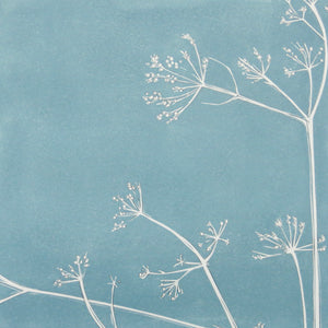 Cow Parsley hand printed linocut finished with pencil details by London artist Sarah Knight in Stone Blue