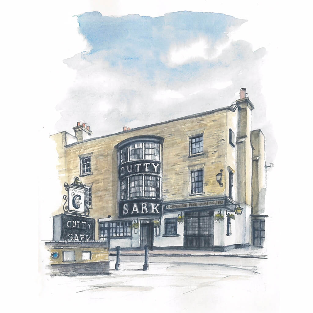 Cutty Sark Pub Greenwich by Ed J Bucknall Original Watercolour