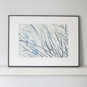 Denham Grasses in Stone & Hague Blue by Sarah Knight Framed