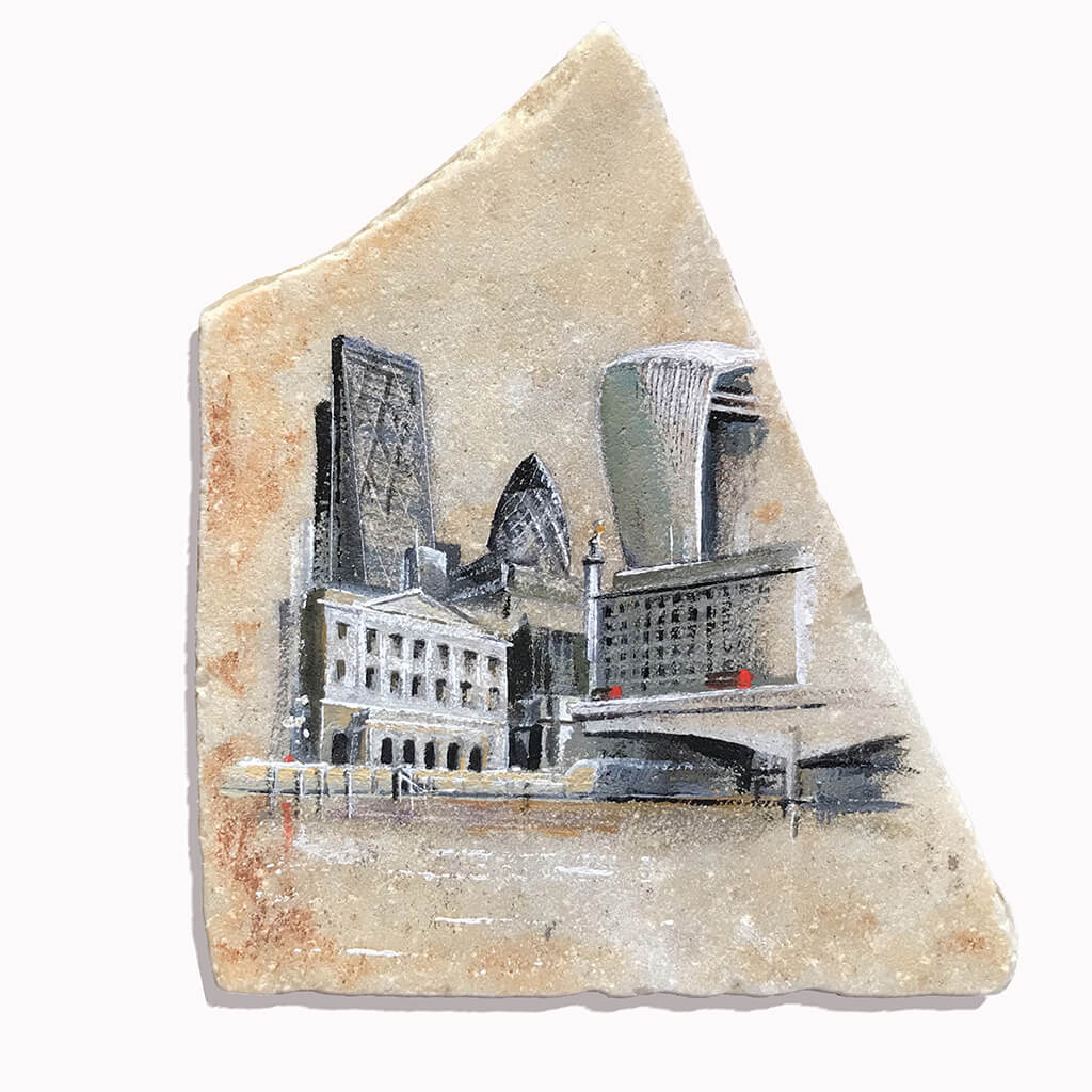 The City by Ed J Bucknall Acrylic on Marble Slab