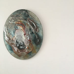 EXOPLANET IX by Eryka Isaak Round Glass Wall Sculpture Side