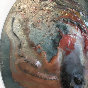 EXOPLANET IX by Eryka Isaak Round Glass Wall Sculpture Detail