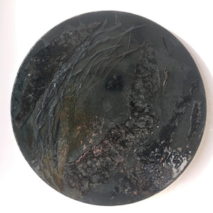 EXOPLANET X BLACK PLANET by Eryka Isaak Glass Wall Sculpture